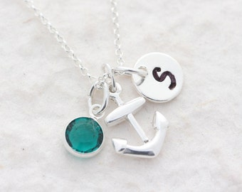 Small Anchor Necklace, Sterling Silver anchor charm. 2 Custom charms Included,  Beach Nautical jewelry, bridesmaid gift