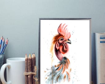Rooster watercolor painting Original art Chicken decor Colorful Bird illustration gift Farm Rooster