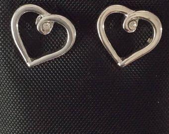 Sensitive Ears Silver Heart Earrings with CZ Steel posts