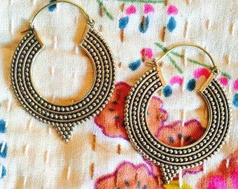 Tribal Pointed Hoop Earrings in Brass or Silver Plated Brass