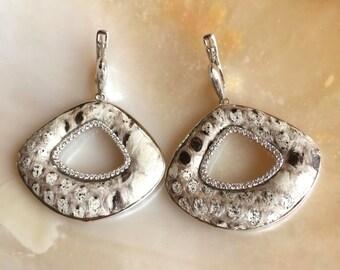 White Python Snakeskin Fan Earrings Sterling Silver & Cubic Zirconia Paved