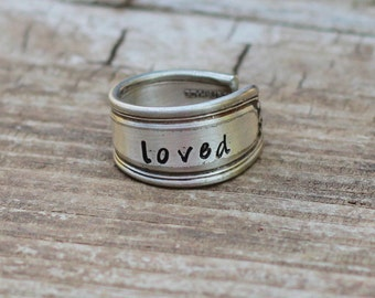Word Ring,Posey Ring, Thumb Ring, Spoon Ring, Silver Spoon, Hand Stamped Ring, Mother In Law Gift Idea, Monogram Ring, Word Of The Year