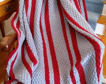 Gray and Red Striped knitted afghan