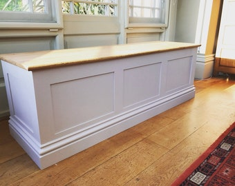 5ft oak top ottoman / storage chest painted with Farrow & Ball colours