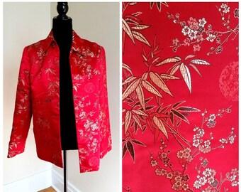 silk blazer oriental jacket red blazer silk jacket oriental jacket 1950s oriental blazer red silk jacket women's medium
