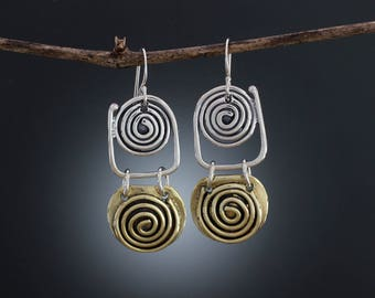 Sterling Silver and Brass Spiral Earrings - Mixed Metal Earrings - Double Spiral - Statement Earrings - Brass Earrings - Silver Earrings
