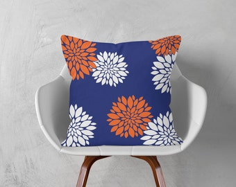 Orange Blue Cushion, Floral Cushion, Navy Decorative Pillow Cover, Flowers Throw Pillow Case, 16x16 18x18 20x20, Navy Orange White