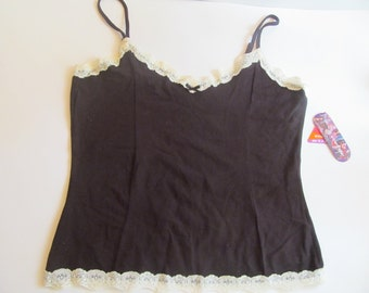 Ladies  Black  Tank Top with lace Trim  size  L  NWT