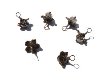 6PC.  Smoky AB Austrian 8MM Crystal Bead Charms//Handmade Bead Dangle Charms// Bead Dangle Adorned with Antique Bronze Tone Plated Accent