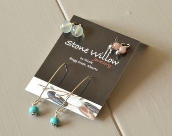 Gemstone Earring Set, Pastel Earrings, Interchangeable Earrings, Serpentine Earrings, Blue Pink Earrings