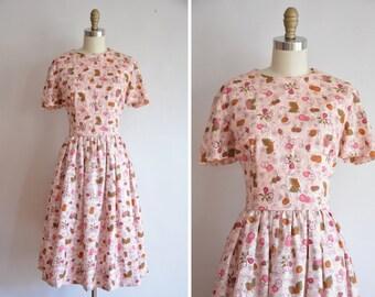50s Fruit Delivery dress/ vintage 1950s novelty dress/ vintage 50s full skirt sundress