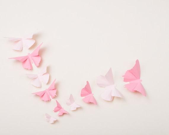 Pépinière 3D papillons: lumière Art mural papillon rose pour