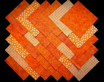 ORANGE Prints 5 inch Squares, 100% cotton Prewashed,  Quilt Block Fabric (#B/29B)