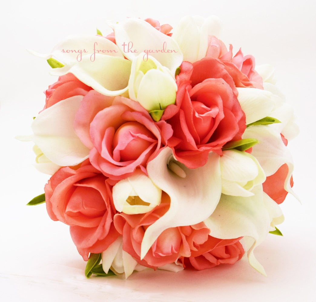Coral And White Callas Tulips Roses Bridal Bouquet Real