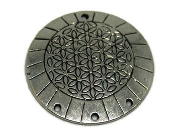Large charm / connector Medallion flower of life metal silver 34mm