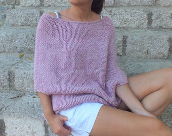 Wool Poncho Super Soft wool poncho Pink Pastel poncho coverup  Gift for sister gift for daughter