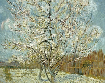 The Pink Peach Tree by Vincent Van Gogh, Giclee Canvas Print