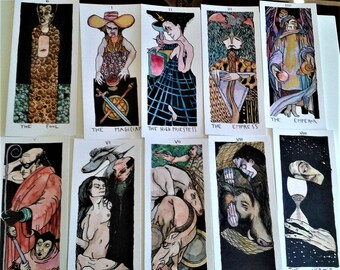 available k A O S  COLORS 22 big  major arcana tarot more one water colors - no plasticized - OOAK only one deck