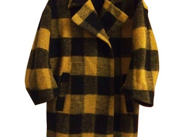 Yellow and Black Check Wool Coat