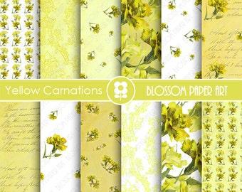 Digital Paper Yellow Floral Paper - Carnations Digital Paper Pack, Floral Scrapbooking - INSTANT DOWNLOAD - 1878
