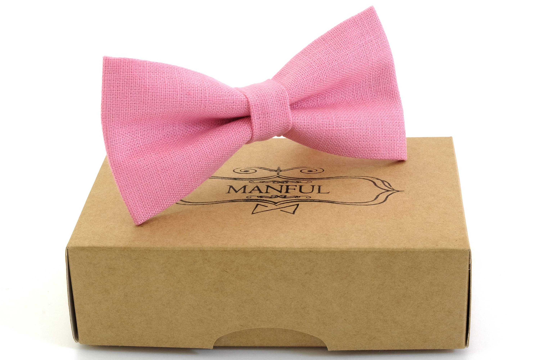 Deep pink bow tie wedding necktie linen necktie groomsmen