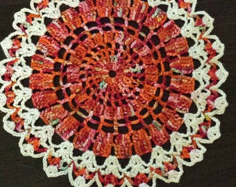 Crocheted small round doily 7 inch handpainted thread red autumn  clearance
