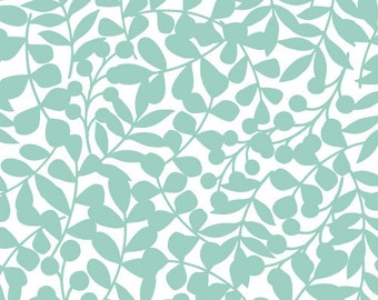 Branch in Turquoise - First Light - Eloise Renouf - Cloud 9 Fabrics - Organic Cotton - 1 Yard