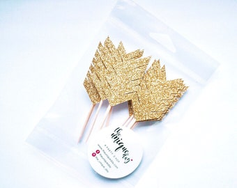 Arrow Cupcake Toppers - Set of 12, Tribal Party, Wild one, Go wild, Wild Party,Boho, Gold, Ships in 1-2 Business Days