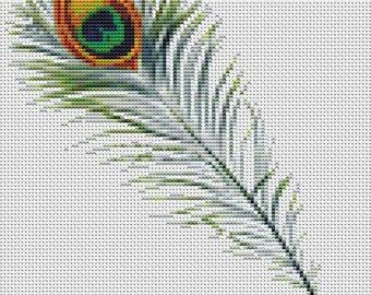 Feather Cross Stitch Kit, Peacock Cross Stitch, Embroidery Kit, Art Cross Stitch, Counted Cross Stitch
