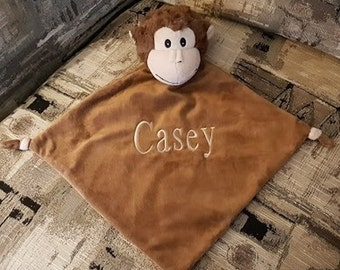 Personalized Cubbies Monkey Security Blanket Baptism Gift Christening Gift New Baby Baby Shower Gift Fleece Security Blanket
