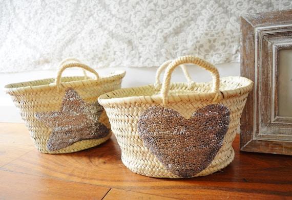 February Trend- Kids Basket Panier Silver-great for Storage, nursery, beach, picnic, holiday, Marrakech Basket Bag, Ramadan, Eid