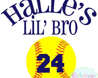 Softball Little Brother or LIttle Sister Iron on Transfer - Tshirt - Bodysuit - Tote Bags - DIY - Softball - You choose color