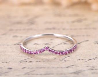 Pink Sapphire V Wedding Band Chevron Wedding Band,Curved V Wedding Ring 14K White Gold,Curved Wedding Ring Micro Pave Diamond Ring V Ring