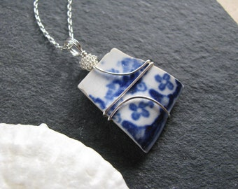 Sea Glass Jewelry Blue China Sea Pottery Pendant Sea Glass Necklace