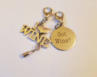 I love Wine Got Wine Knit Crochet Stitch Markers Set of 2 WIP Progress Place Keeper Crocheters Friend Gift Yarn addict mother's day present