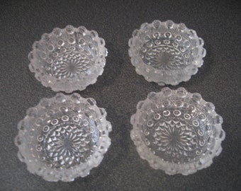 Vintage Frosted Pressed Glass Salt & Pepper Individual Cellars, Set of Four