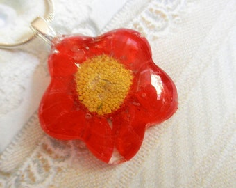 Red Daisy Pressed Flower Glass Flower Shaped Pendant-April's Birth Flower-Symbolizes Passion, Loyal Love-Nature's Art-Gifts Under 25