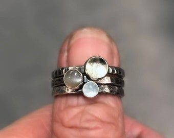 Silver Stacking Rings with Moonstone and Aquamarine, Pastel Stackable Rings, Green White and Grey Sterling Rings
