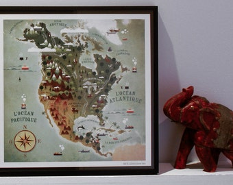 North America map, world map, mappemonde