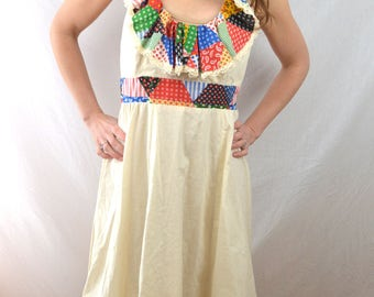 Vintage 70s Summer Open Back Hippie Patchwork Maxi Ruffle Dress