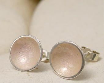 Wedding Jewelry, Bridesmaid Earrings, Silver Stud Earrings, Shell Pink Vitreous Enamel Silver Post Earrings, Enamel Jewelry Bridal Earrings,