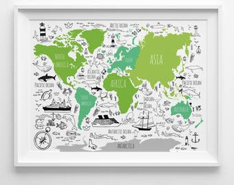 Nautical map poster etsy world map for kids nautical nursery art fun woodland poster children playroom gumiabroncs Gallery