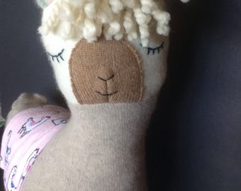 Lulu llama pillow toy in tan cashmere