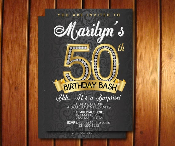 50th birthday invitation surprise 50th birthday party like this item filmwisefo Choice Image
