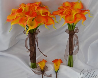 """Bride/MoH Bouquets Groom/Best man Boutonnieres Wedding Bridal Bouquet Real Touch Calla Lily Orange - More Colors """"Lily of Angeles"""" CAOR01"""