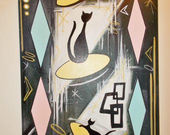 """MCM Atomic Eames  Era Inspired Original Painting Cats & Mouse In Space 16"""" X 20"""""""