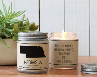 Nebraska Scented Candle - Homesick Gift | Feeling Homesick | State Scented Candle | Moving Gift | College Student Gift | State Candles