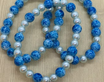Blue and White Beaded Bracelet Set with dangling Heart Charm