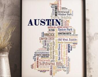 Austin Map Art, Austin Art Print, Austin Neighborhood Map, Austin Typography Art, Austin Poster Print, Austin Word Cloud