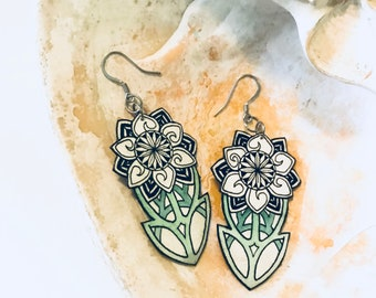 Art Nouveau Flower Earrings black and white Hand Painted Watercolor Paper